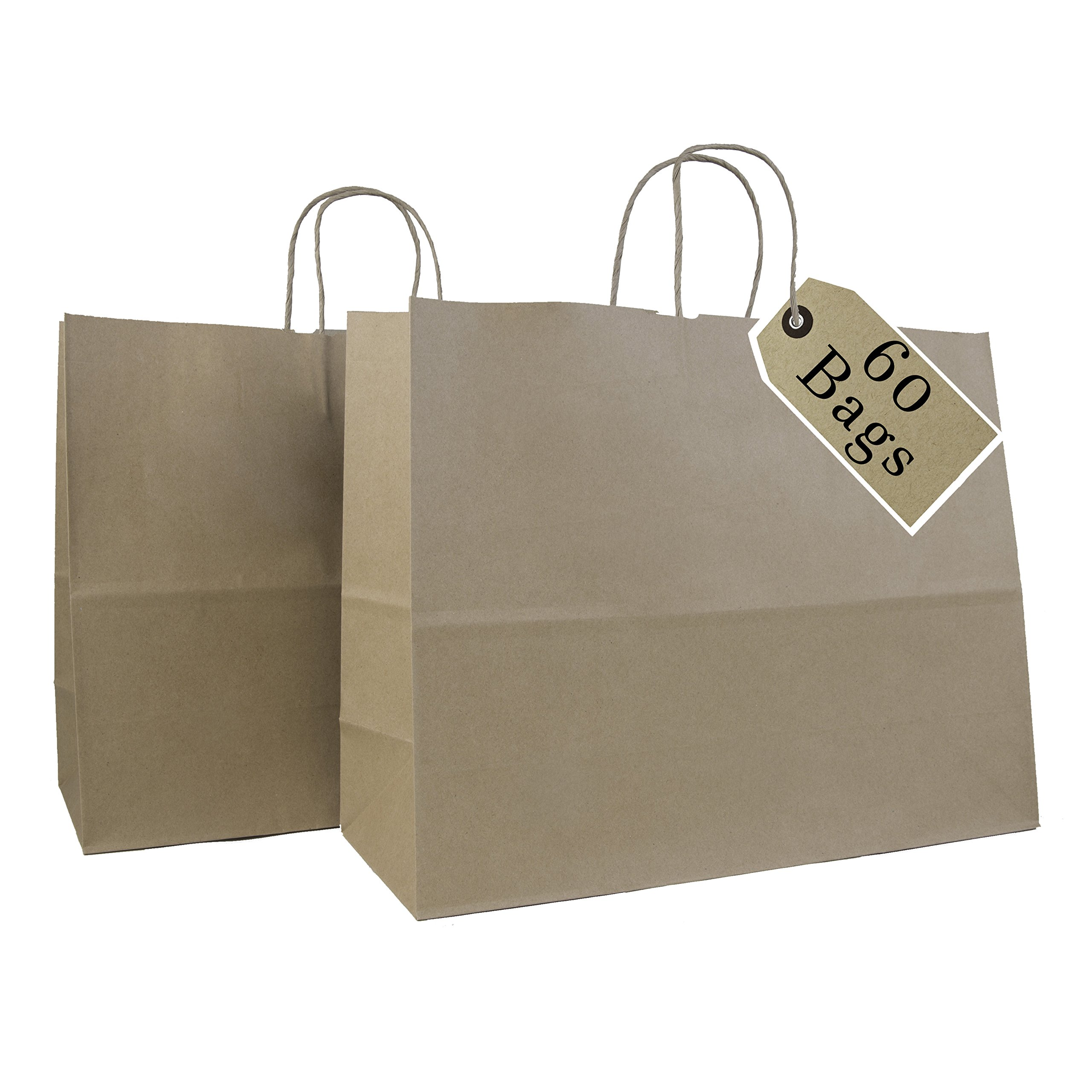 Incredible Packaging- 16'' x 6'' x 12'' Kraft Paper Bags with Handles for Shopping, Retail and Merchandise. Strong and Reusable - 60 Bags Count - 80 Paper Thickness (Brown)