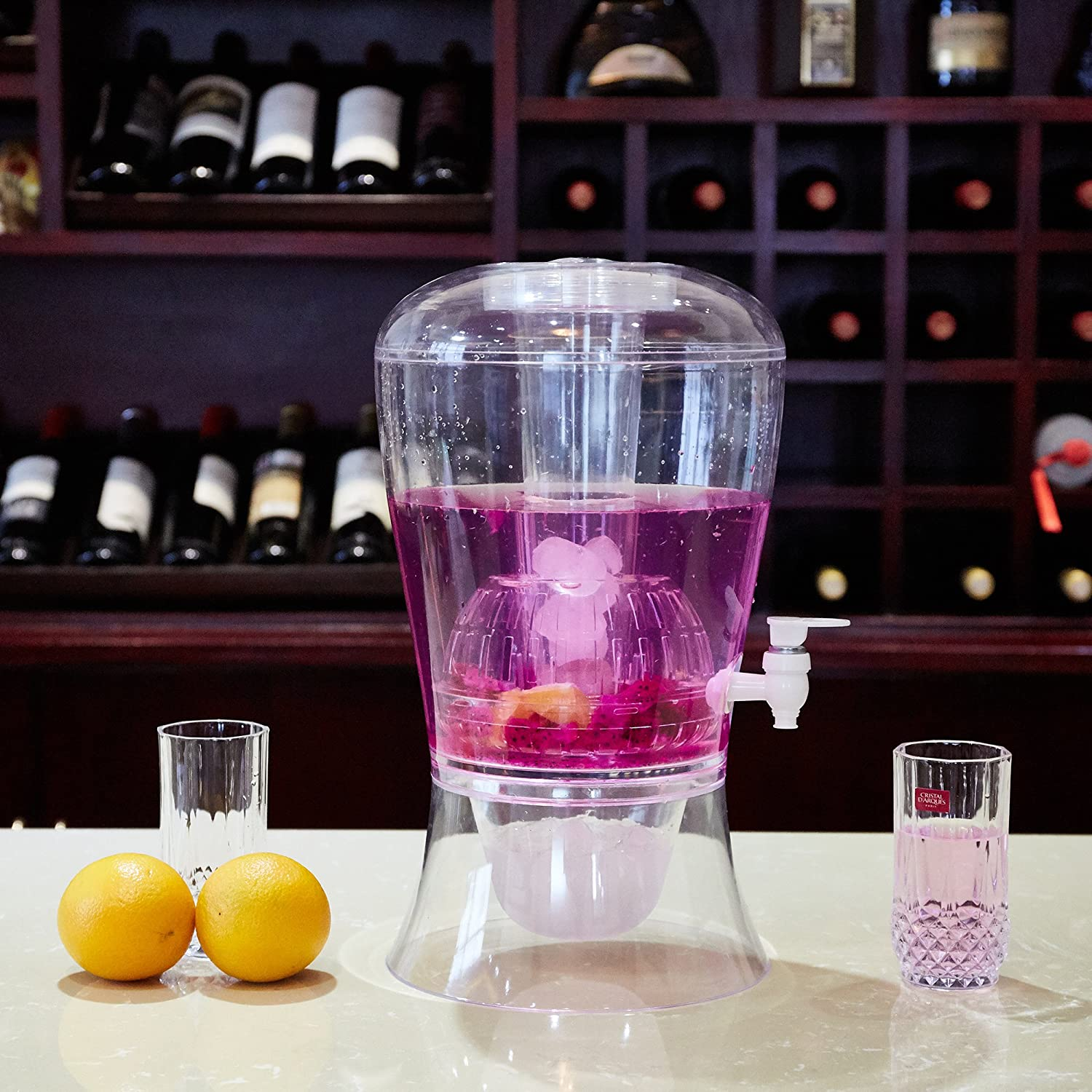 Dporticus 2 Gallon beverage dispenser on Stand with Cooling Cylinder, Tea and Fruit Infuser Shatterproof Acrylic BPA Free, Dishwasher Safe