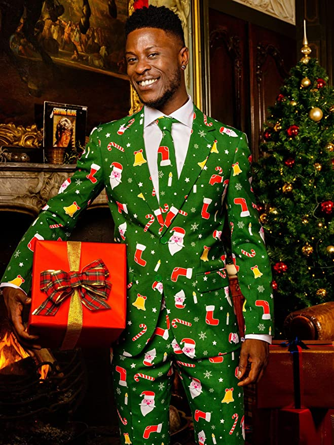 Santaboss weihnachtshemd pour homme Christmas fushia manches longues opposuits