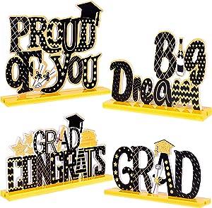 4PCS Graduation Decorations 2021 Table Centerpieces - Congrats Grad Party Decor Supplies Ornaments (Assembly Needed)