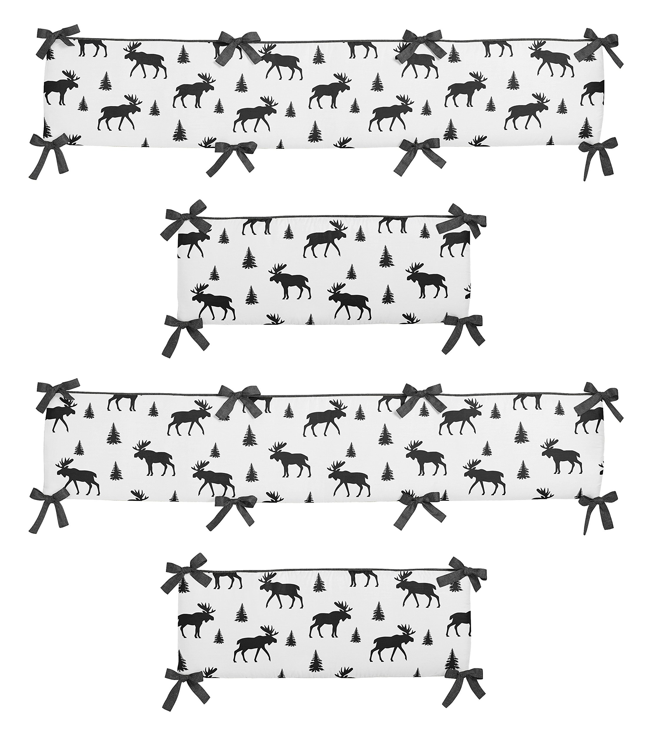 Sweet Jojo Designs Grey, Black and White Woodland Moose Baby Crib Bumper Pad for Rustic Patch Collection by Sweet Jojo Designs