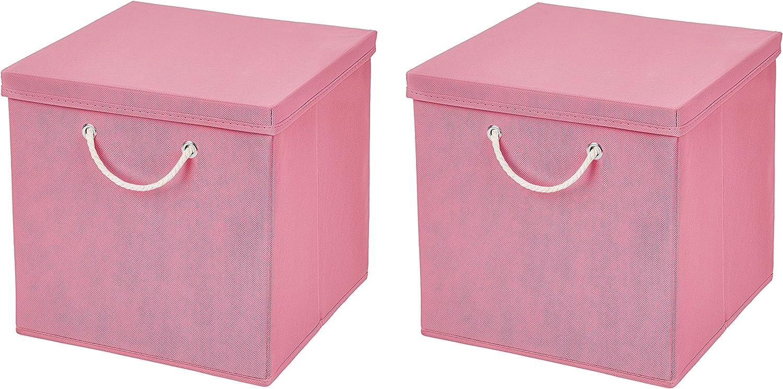 Caja de almacenaje, 30 x 30 x 30 cm, con tapa, Rosa, 2 unidades ...