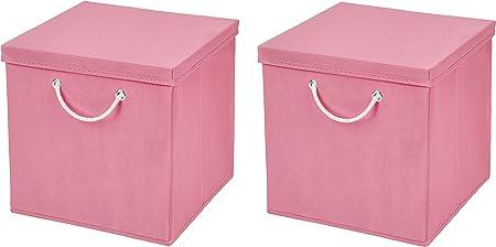 Caja de almacenaje, 30 x 30 x 30 cm, con tapa, Rosa, 2 unidades: Amazon.es: Hogar