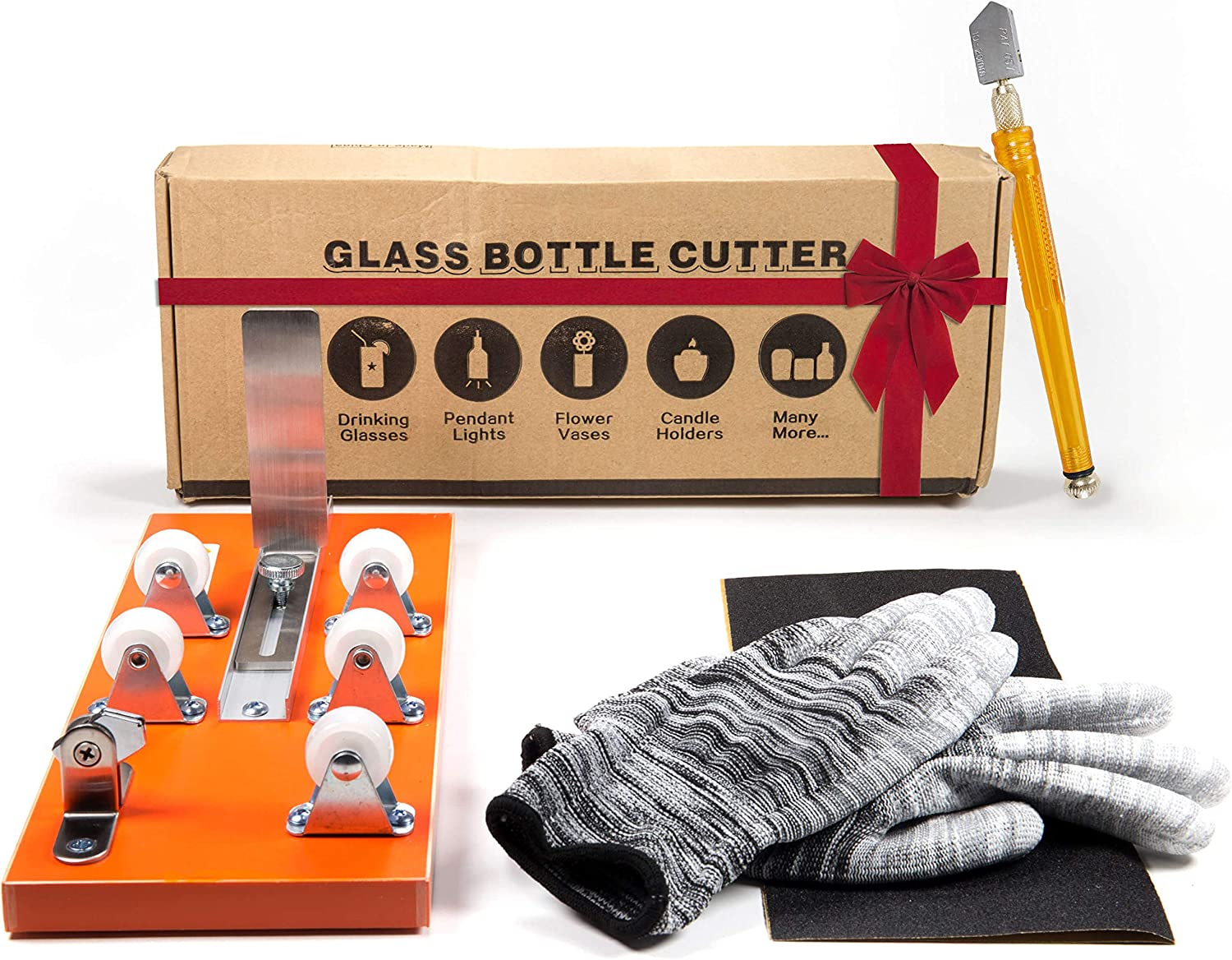 Bottle Cutter & Glass Cutter Bundle - DIY Machine for Cutting Wine, Beer, Liquor, Whiskey, Alcohol, Champagne, Water or Soda Round Bottles & Mason...