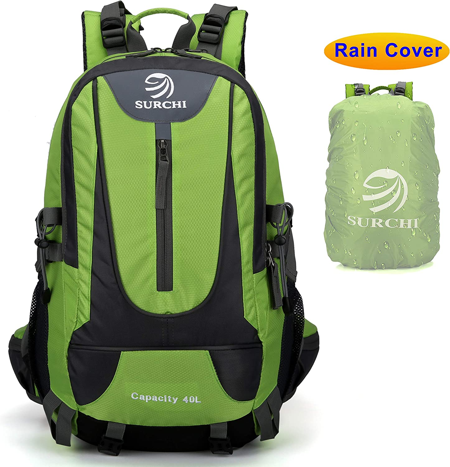 SURCHI Lightweight Hiking Backpack With Rain Cover Traveling Daypack 40L