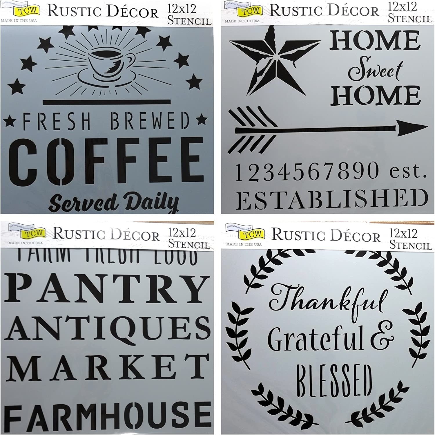4 Crafters Workshop Mixed Media Stencils Set | for Arts, Card Making, Journaling, Scrapbooking | 12 Inch X 12 Inch Large Templates | Fresh Coffee, Home Sweet, Rustic Signs, Thankful