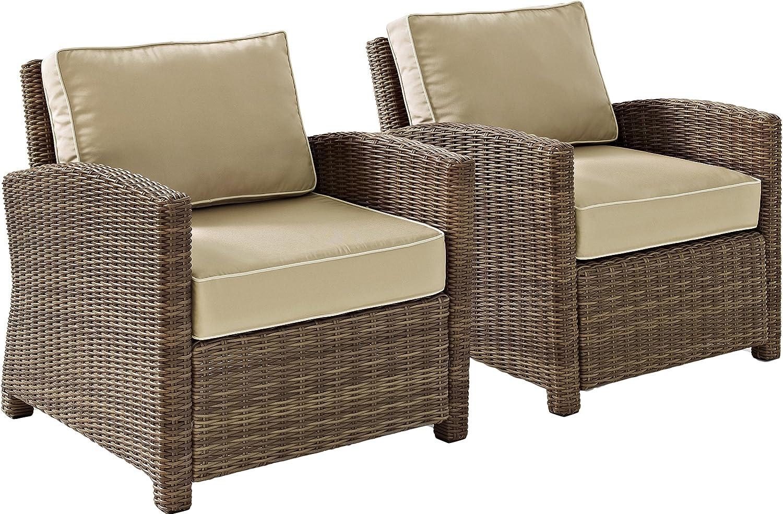 Crosley Furniture KO70026WB-SA Bradenton Outdoor Wicker Arm Chairs (Set of 2), Brown with Sand Cushions