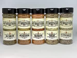 BBQ Rub Sampler Pack – BBQ Seasoning – Dry Rub Seasoning – Gourmet Meat Rubs – 2 x 250g (8.8oz) & 3 x 150g (5.3oz) Packs – by Pit Brothers BBQ