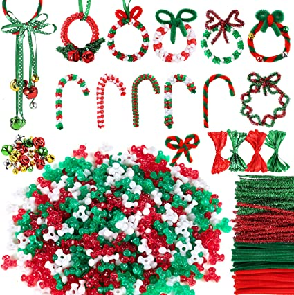 Christmas Beaded Ornament Kit,1300 Pieces Tri-Shaped Beads Plastic Tri Beads,40 Pieces Chenille Stems Pipe Cleaners,15 Pieces Bell for Christmas Tree Decorations Party DIY Supplies 1356 Pack