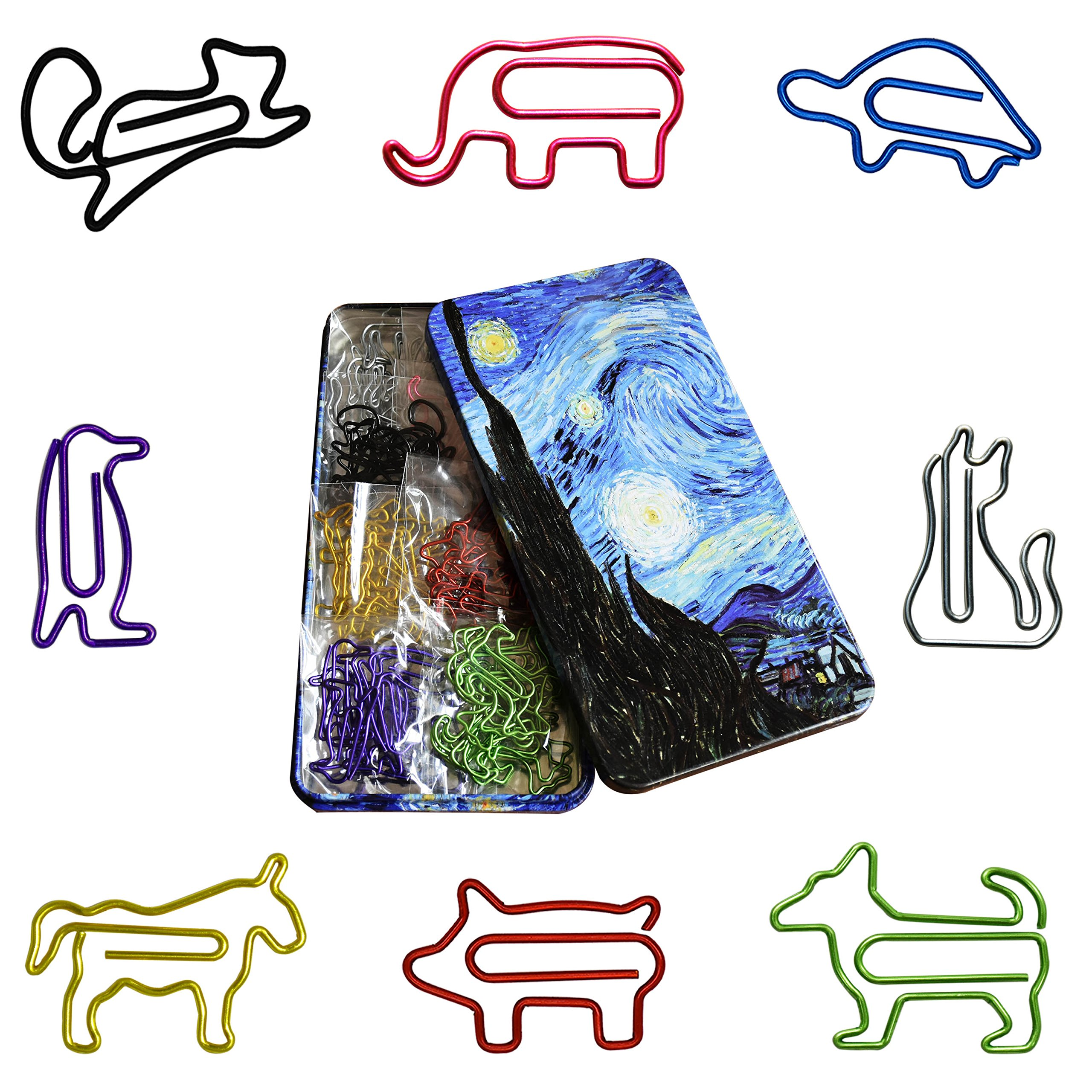 Cute Paper Clips Assorted Sizes Colors - Funny Bookmarks Paperclips - Cool Office Supplies Gifts for Women Pets Lovers Coworkers