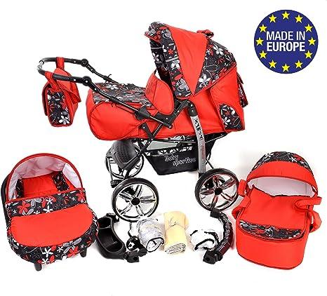RUEDAS EST/ÁTICAS y accesorios Sistema de viaje 3 en 1 carrito con capazo y silla de coche Kamil silla de paseo Sistema de viaje 3 en 1, rojo, flores coloridas