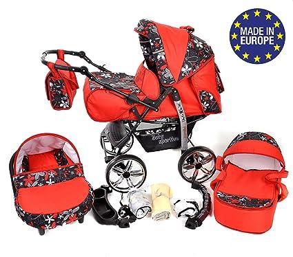 Kamil - Sistema de viaje 3 en 1, silla de paseo, carrito con capazo y silla de coche, RUEDAS ESTÁTICAS y accesorios (Sistema de viaje 3 en 1, rojo, ...
