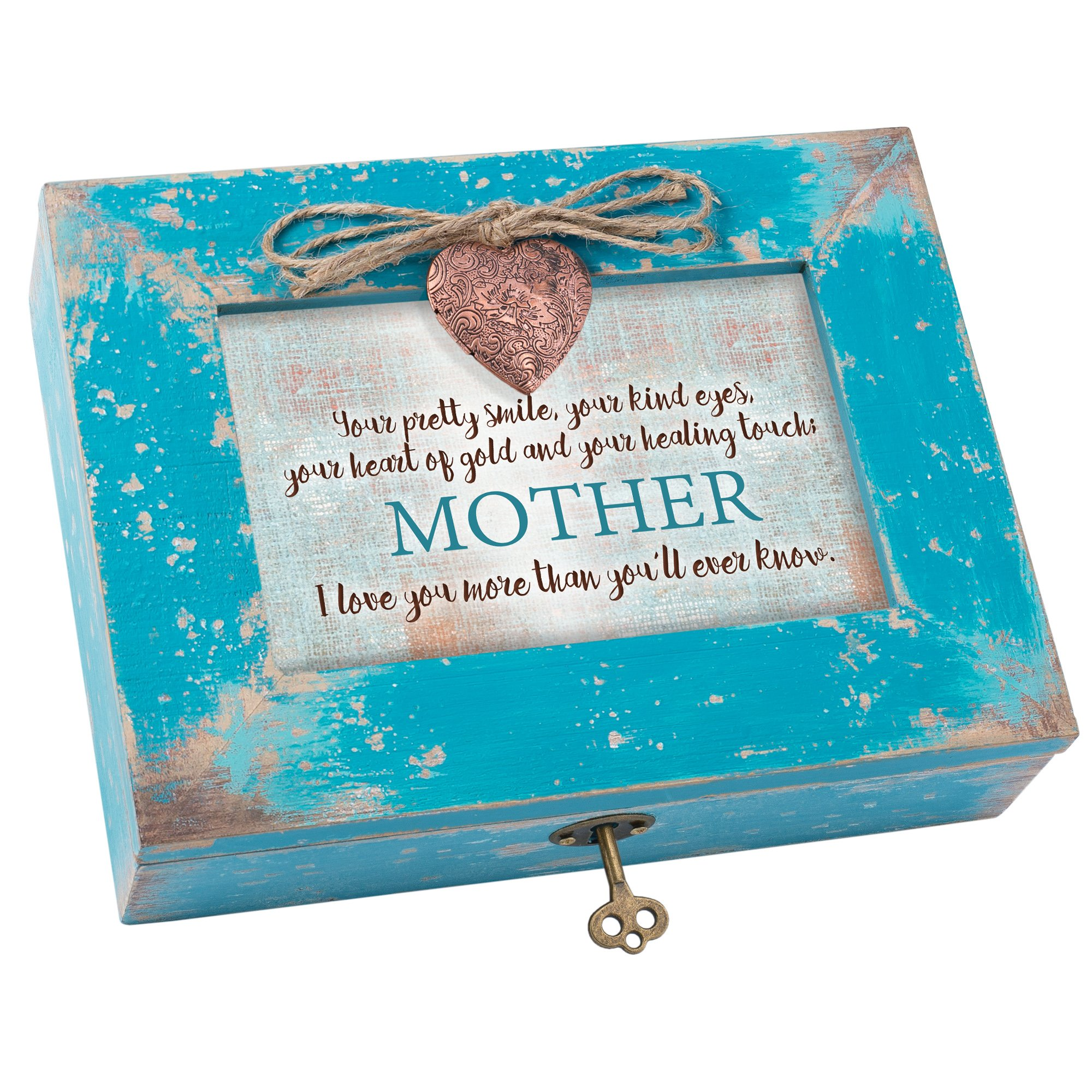 Cottage Garden Your Kind Heart of Gold Mother Teal Wood Locket Jewelry Music Box Plays Tune Wind Beneath My Wings