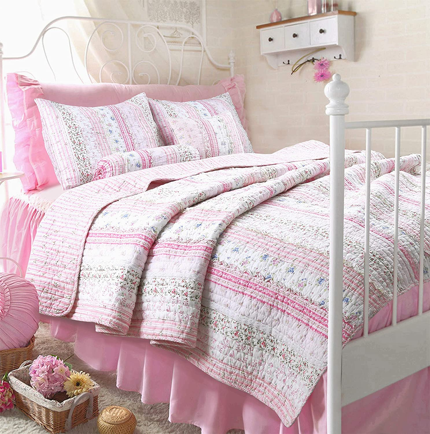 Cozy Line Home Fashions Pink Rose Blue Flower Floral Printed Lace Stripe 100% Cotton Bedding Quilt Set Reversible Coverlet Bedspread (Pink Lace, Twin - 2 Piece)