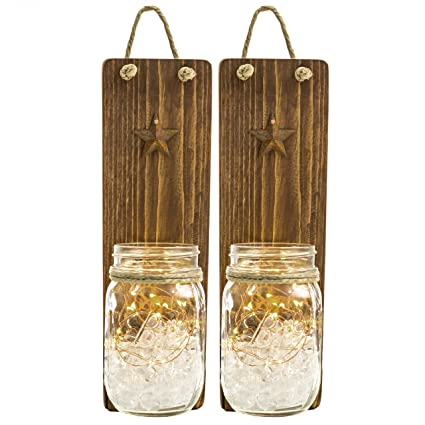 Heartful Homes Rustic Wood Bathroom Wall Decor   Pair Primitive Mason Jar  Organizers  #1