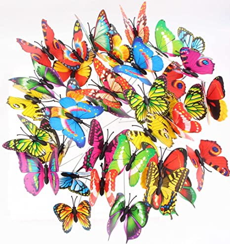 Totally 28 Pieces 24 Pcs Luminous Butterflies Stakes and 4 Pcs Dragonflies Stakes Garden Outdoor Yard Planter Flower Christmas Tree Decorations