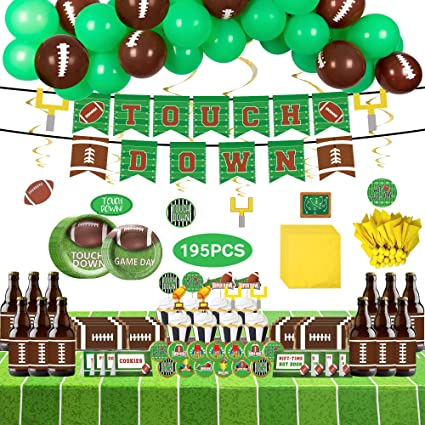 FUNPARTY Superbowl Party Supplies, 158 Pcs Football Party Decorations - Balloons, Plates, Cupcake Toppers, Napkins, Bottle Lables, Stickers, Food Tents Signs, Banner, Tablecloth,Swril Decorations