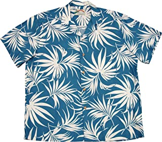 product image for Paradise Found Mens Fan Palm Shirt Blue 4X