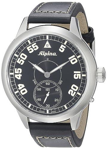 Alpina hombres de al-435bn4sh6 Piloto patrimonio pantalla analógica mecánica mano viento negro reloj: Amazon.es: Relojes