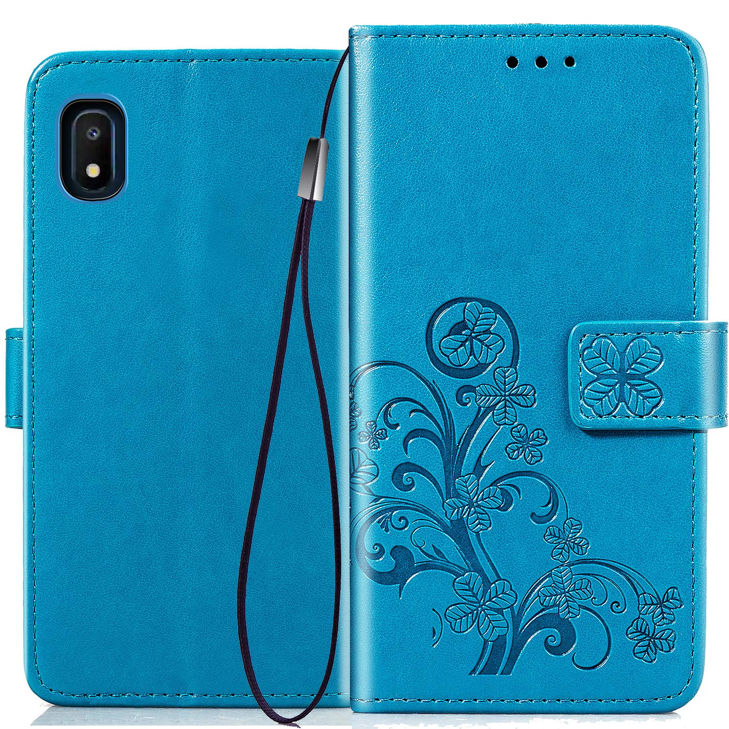 Halnziye Case for Samsung Galaxy A10E, Magnetic Closure Soft TPU Flip Leather Wallet Phone Case with Kickstand Card Slots Designed for Samsung Galaxy A10E Cover (Blue)