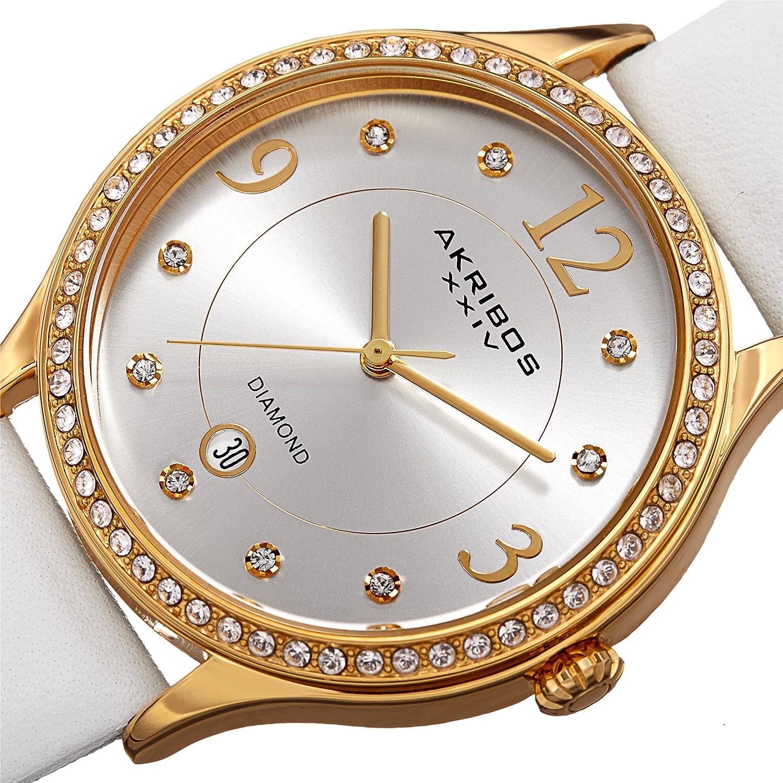 Akribos Swarovski Crystal Women's Watch - Diamond Markers On A Sunray Dial - Genuine Leather Strap Watch - AK1011 White