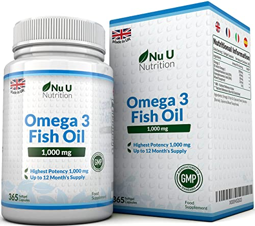 Omega 3 Fish Oil 1000mg 365 Softgels, Pure Fish Oil with Balanced EPA & DHA - Contaminant Free with Omega 3 by Nu U Nutrition (1 Year Supply)