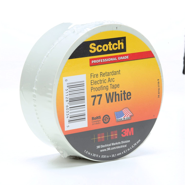 "3M Scotch 77 Fire Retardant Electric Arc Proofing Tape 1-1//2/"" x 20/' x.030/"",White"