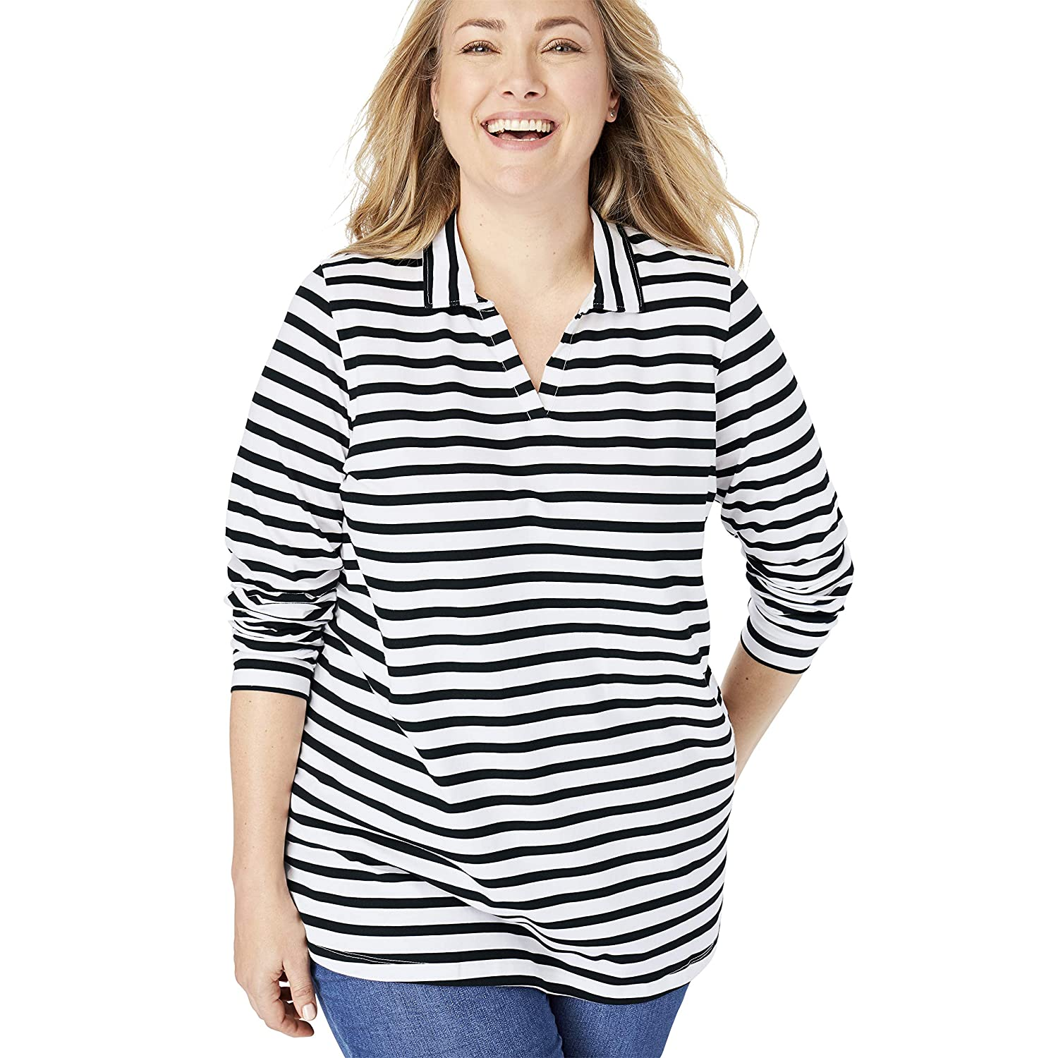 Woman Within Womens Plus Size Perfect Striped Open Collar Polo Shirt