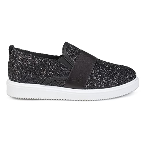 bf77bbed3204d Brinley Co. Womens Glitter Ribbon Slip-on Sneakers