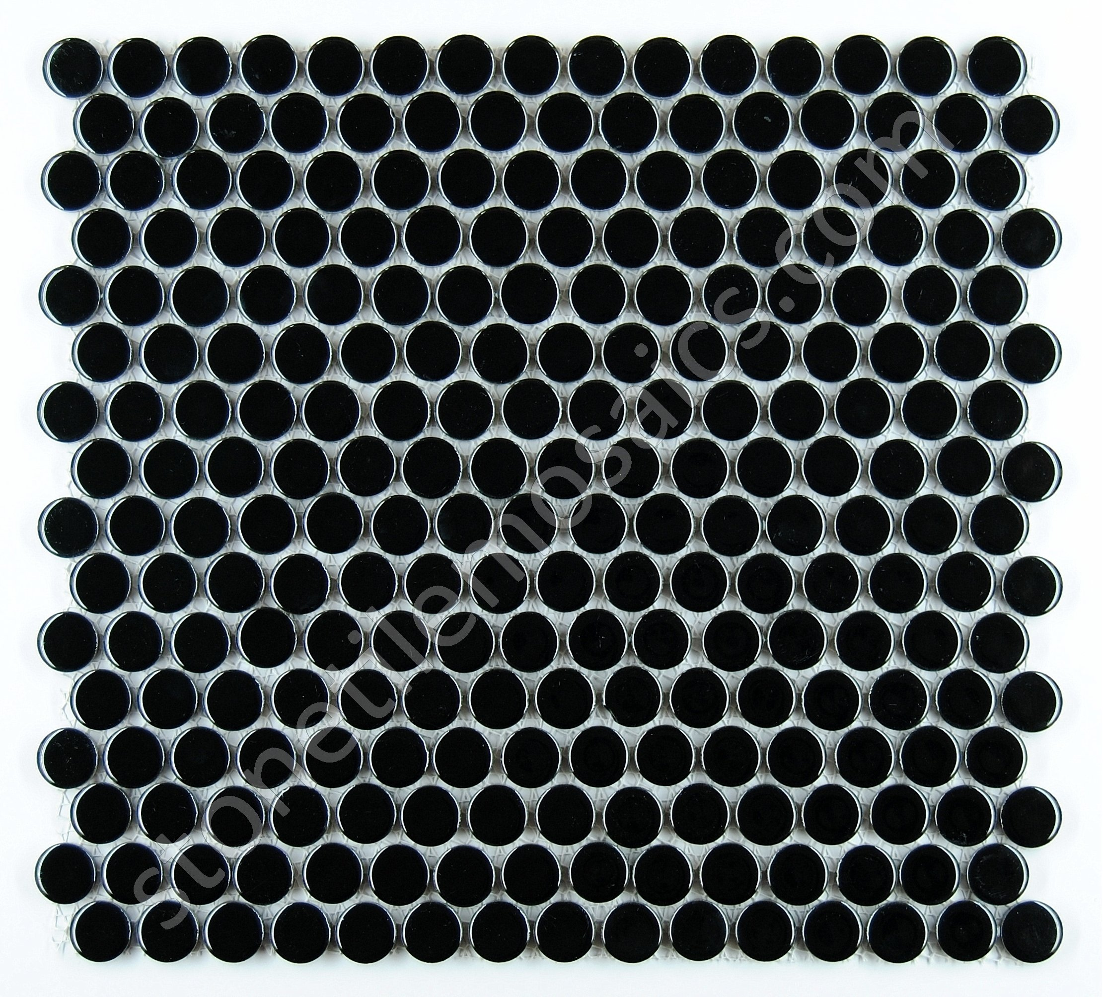 Penny Round Tile Black Porcelain Mosaic Shiny Look (Box of 5.1 Sq Ft)