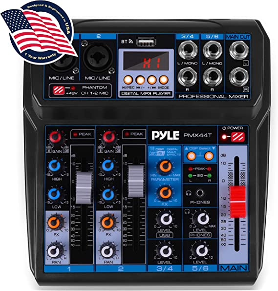 Professional Wireless DJ Audio Mixer - 6-Channel Bluetooth Compatible DJ Controller Sound Mixer w/DSP Effects