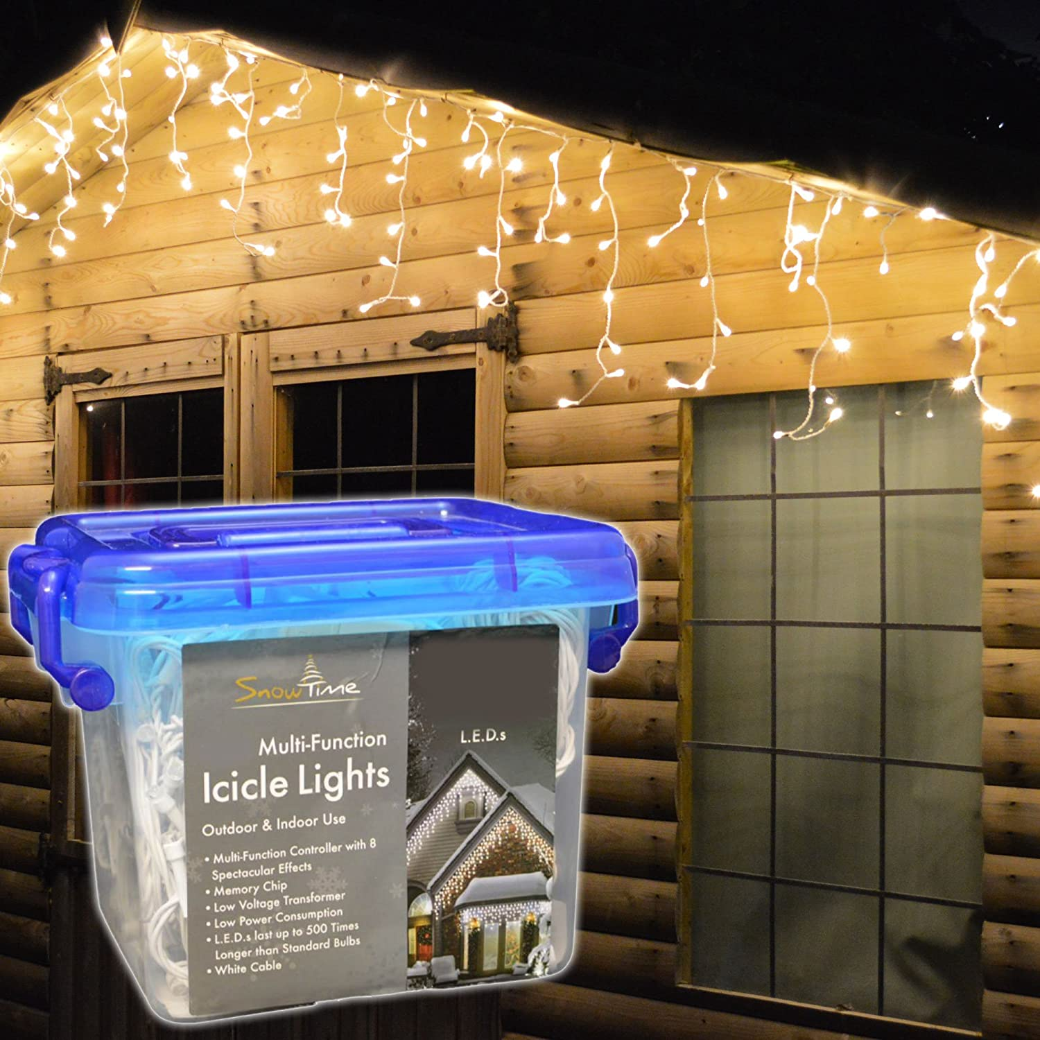 Snowtime 400 White LED Snowing Icicle Lights WHITE: Amazon.co.uk ...