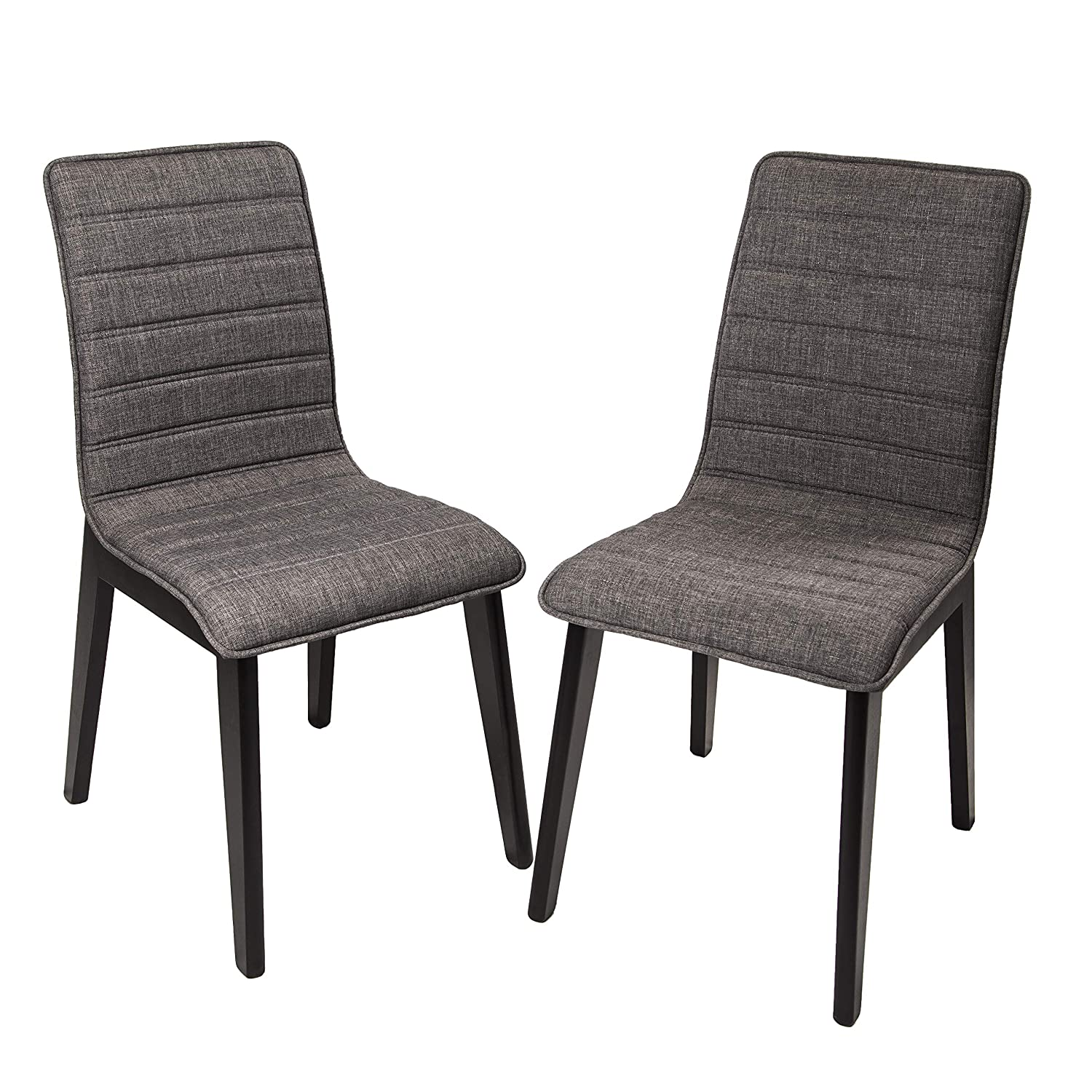 FUNCASH Dining Chairs, Set of 2 Dining Room Chair Grey Fabric Cushion Side Chairs with Sturdy Metal Legs, Mid Century Modern Chairs for Kitchen, Dining, Bedroom, Living Room