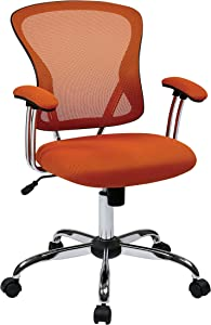 AVE SIX Juliana Mesh Back and Padded Mesh Seat Adjustable Task Chair with Padded Arms and Chrome Accents, Orange