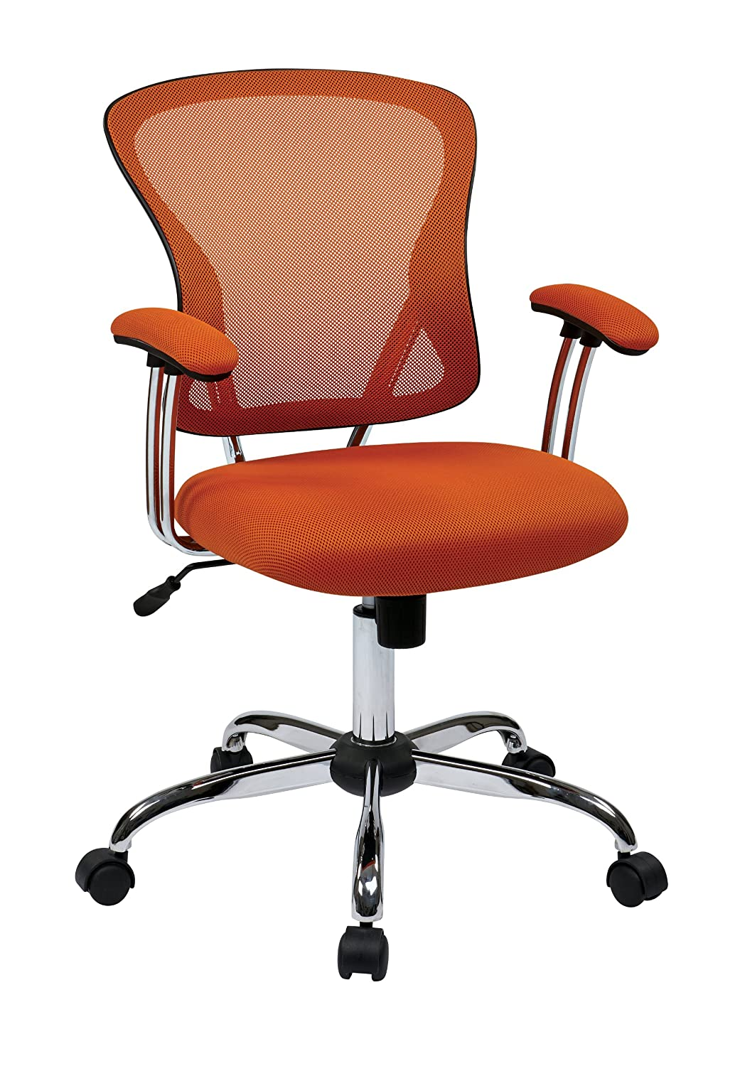 AVE SIX Juliana Mesh Back and Seat Adjustable Task Chair with Padded Arms and Chrome Accents, Orange JUL26-18