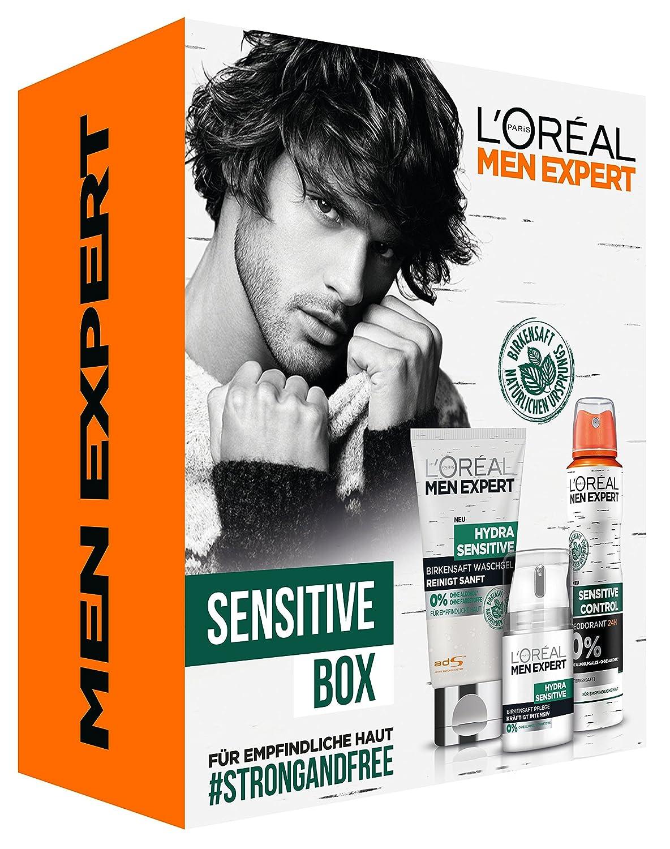L'Oreal Men Expert Hydra Sensitive Box, Hydra Sensitive Feuchtigkeitspflege, 50 ml, Sensitive Control Deo Spray, 150 ml und Hydra Sensitive Waschgel, 150 ml für empfindliche Haut L'Oréal Men Expert Z03691