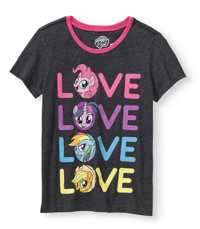 c78c422a03dfd2 Amazon.com  Hasbro My Little Pony Love Girl s Graphic T-Shirt Charcoal  Grey  Clothing