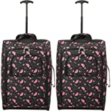 Set of 2 Super Lightweight Cabin Approved Luggage Travel Wheely Suitcase Wheeled Bags Bag Black/Red + Black/Blue (Black Watermelon)