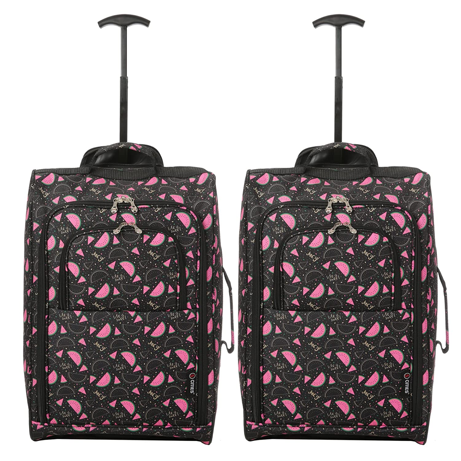 c5beda9a7 Set of 2 Super Lightweight Cabin Approved Luggage Travel Wheely Suitcase  Wheeled Bags Bag (Black Watermelon). by 5 Cities