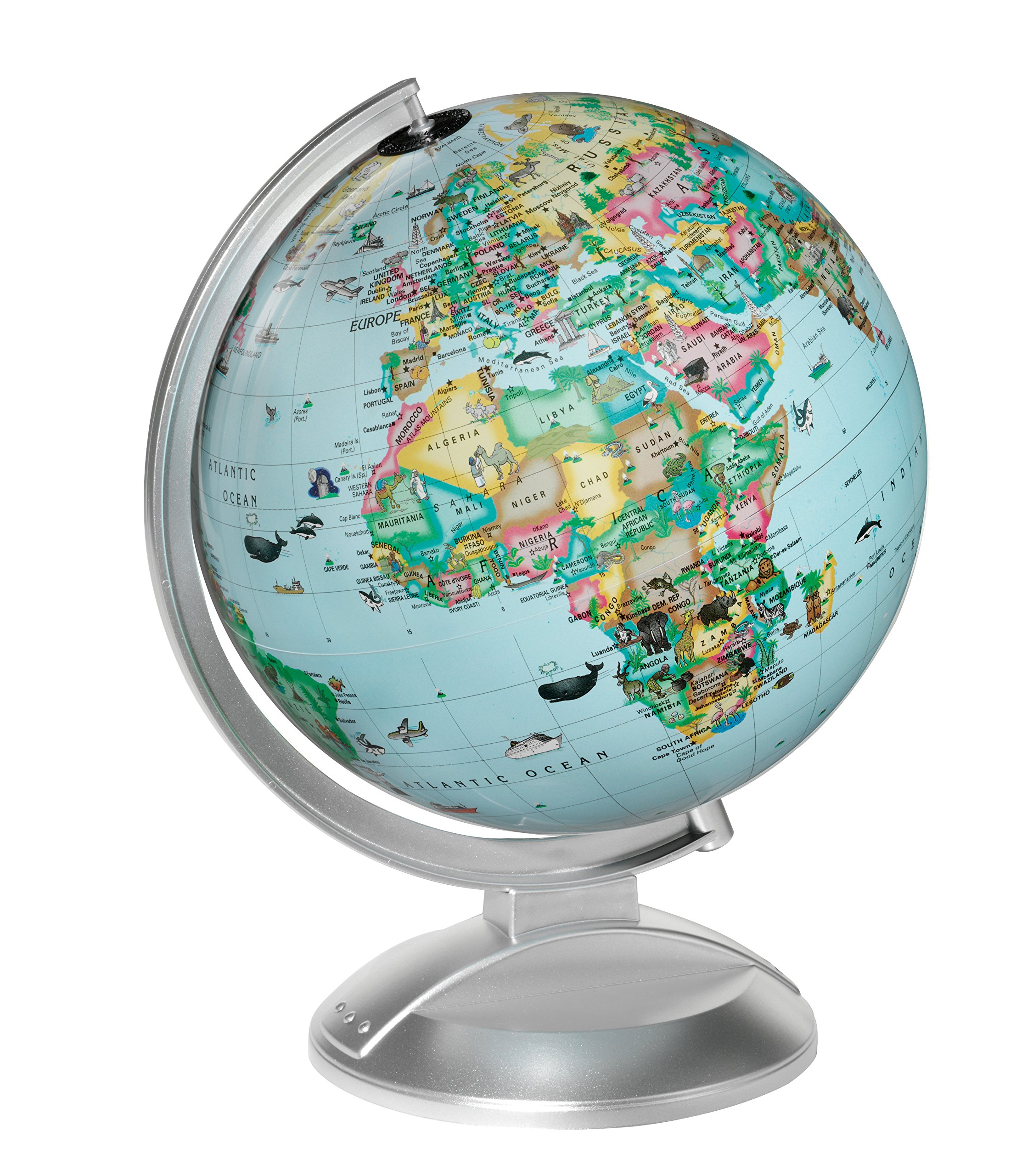 Replogle Illuminated Blue Ocean Globe 4 Kids, Kid Friendly Political Map, Dual Map, Educational Toy