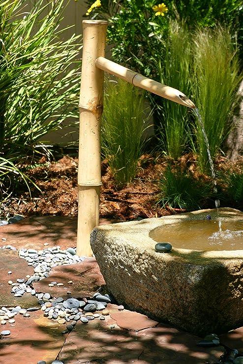 Bamboo Accents - Fuente de agua para exteriores con bomba, fácil de instalar en estanque o jardín, hecho a mano suave y natural resistente a las particiones de bambú: Amazon.es: Jardín