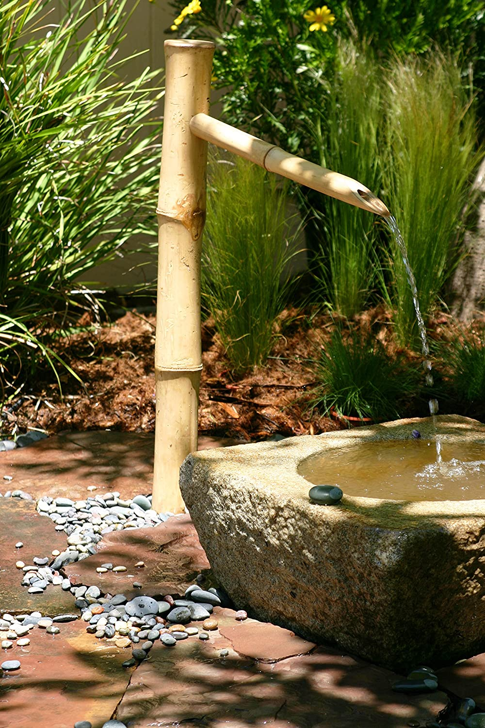 "Bamboo Accents 36"" Tall Outdoor Water Fountain Spout, Easy Install in Pond or Garden, Handmade Smooth Natural Split-Resistant Bamboo"