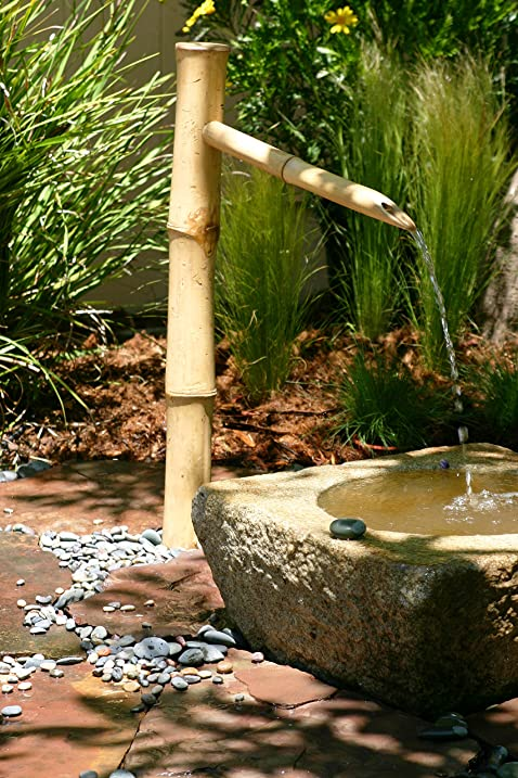Bamboo Accents Tall Water Fountain Spout, Complete Kit Includes Submersible  Pump For Easy Install In