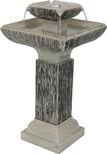 Sunnydaze Square 2-Tier Outdoor Bird Bath Water Fountain
