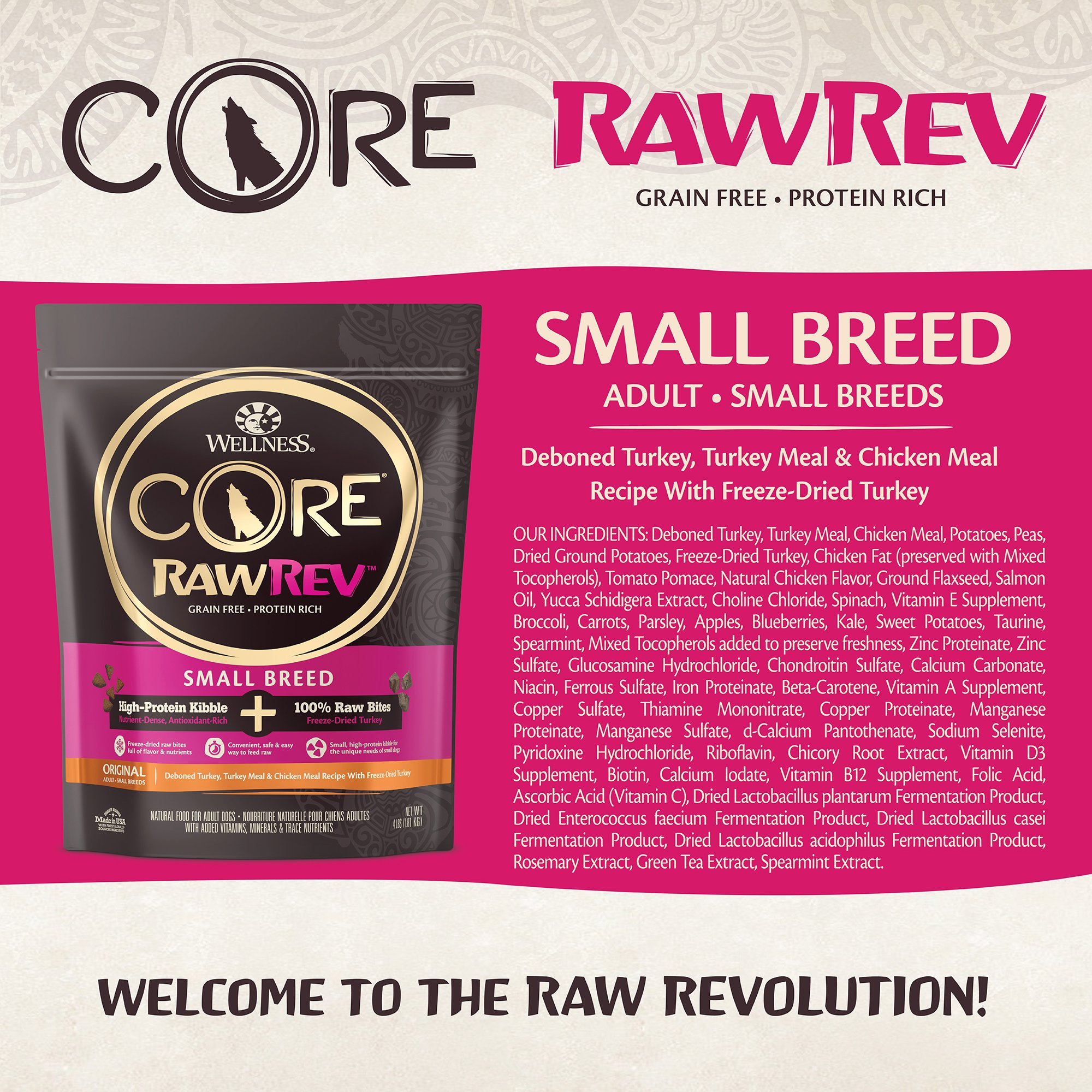 Wellness CORE RawRev Natural Grain Free Small Breed Dry Dog Food, Original Turkey & Chicken with Freeze Dried Turkey, 10-Pound Bag by Wellness Natural Pet Food (Image #3)