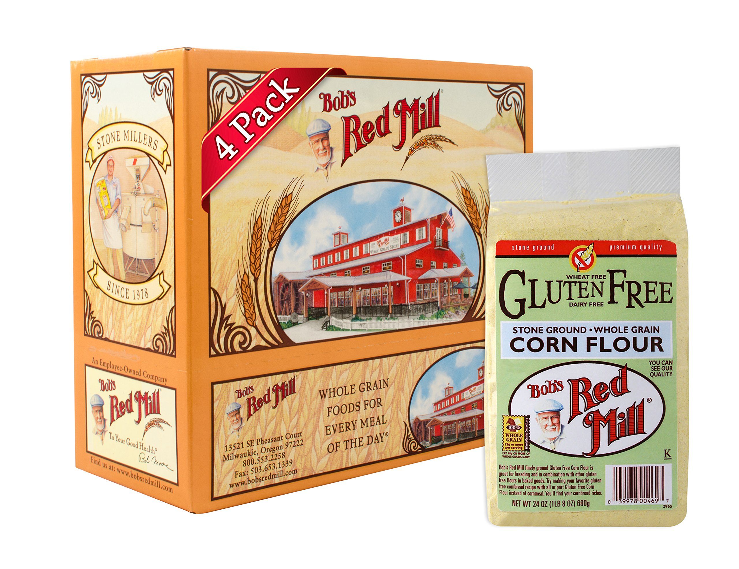 Bob's Red Mill Gluten Free Corn Flour, 24-ounce (Pack of 4) by Bob's Red Mill