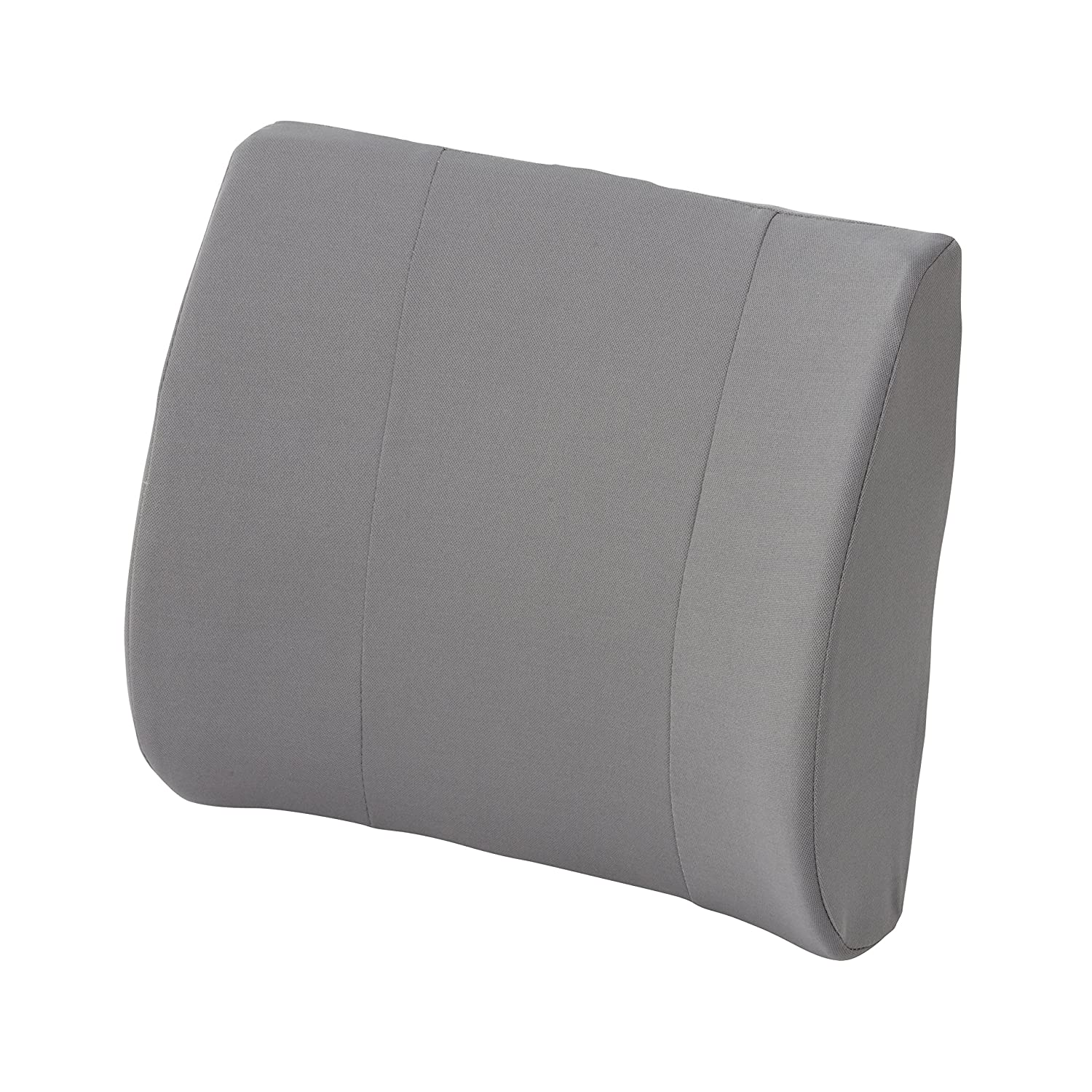 Lumbar Back Support for Office Chair - Chair Back Support Relax-A-Bac Lumbar Cushion, Lower Back Pillow with Wooden Support Board and Strap, Grey