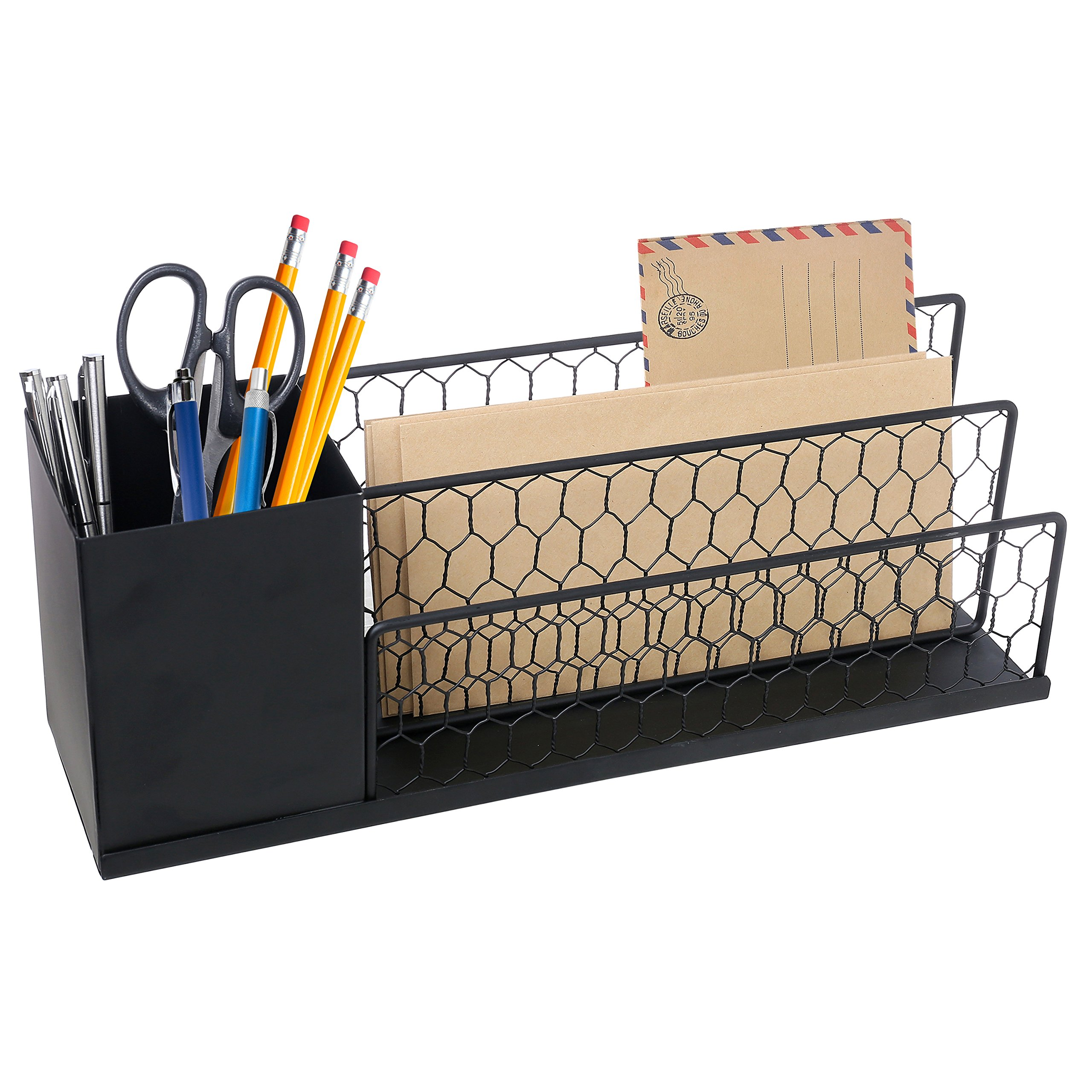 Black Metal & Chicken Wire Desktop Pen Caddy with 2 Slot Stationary Mail Sorter