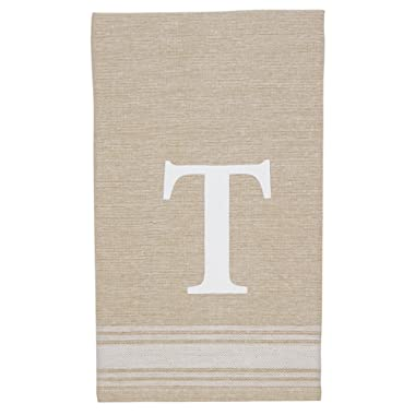 Mud Pie Grainsack Chambray Initial Towel T, T