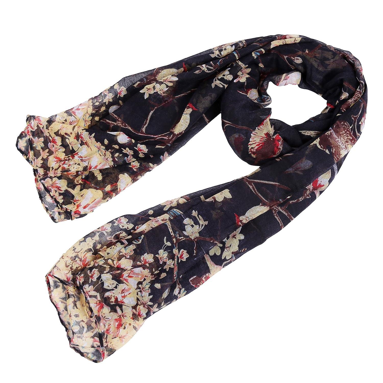 HENGSONG Donne Uccello Fiore Voile stampato sciarpe di della sciarpa Pashmina Wrap collo 180x90cm (Nero) Mei_mei9